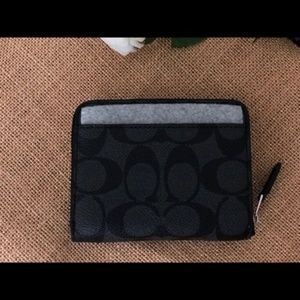 Coach Bags - COACH Zip Around Wallet Signature Black Silver